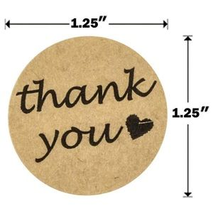 100 Circle Kraft Paper Thank You Stickers w/ heart